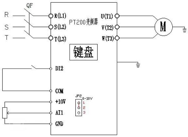 外接一个按钮接到变频器的di2端子来控制电机的启停
